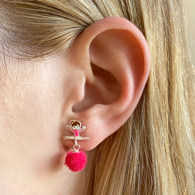 Ballerina Pompom Dangle Earrings