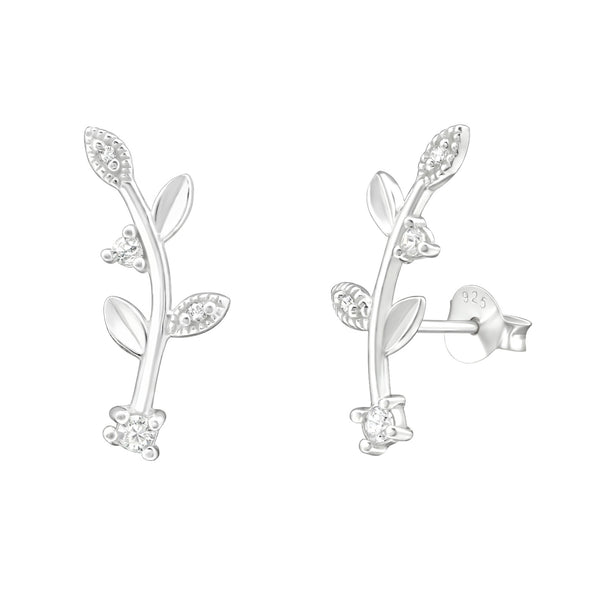 Leaf Branch CZ Ear Climbers