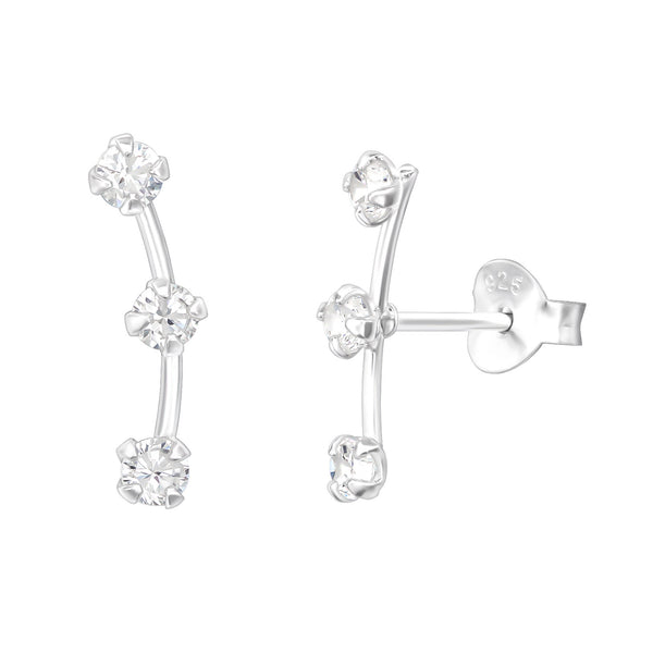 Curved Bar CZ Ear Climbers
