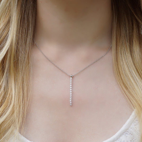 CZ Linear Drop Y Necklace