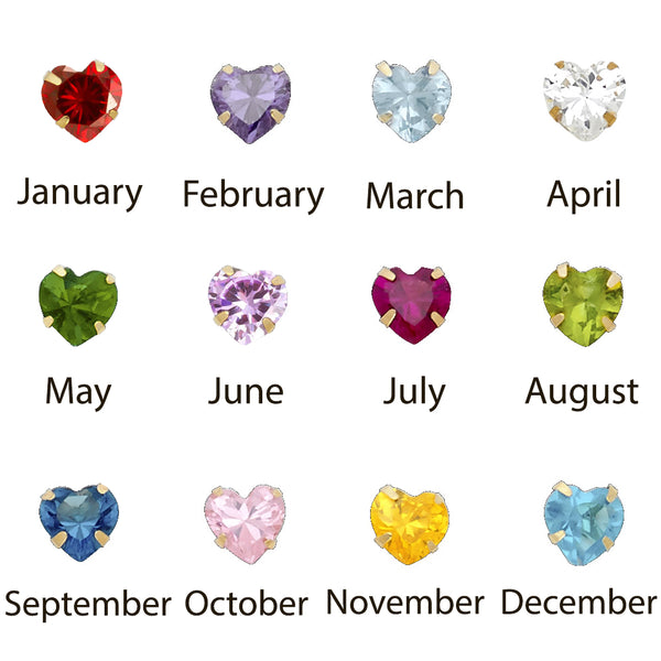 Heart Birthstone CZ Martini Studs