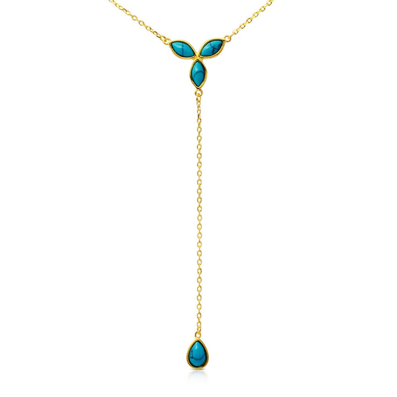 Turquoise Pearl Y Necklace