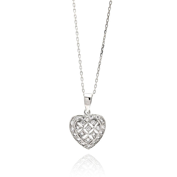 Flowers in a Heart Necklace
