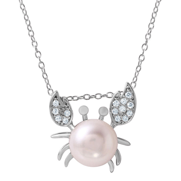 Crab Pearl Pendant Necklace