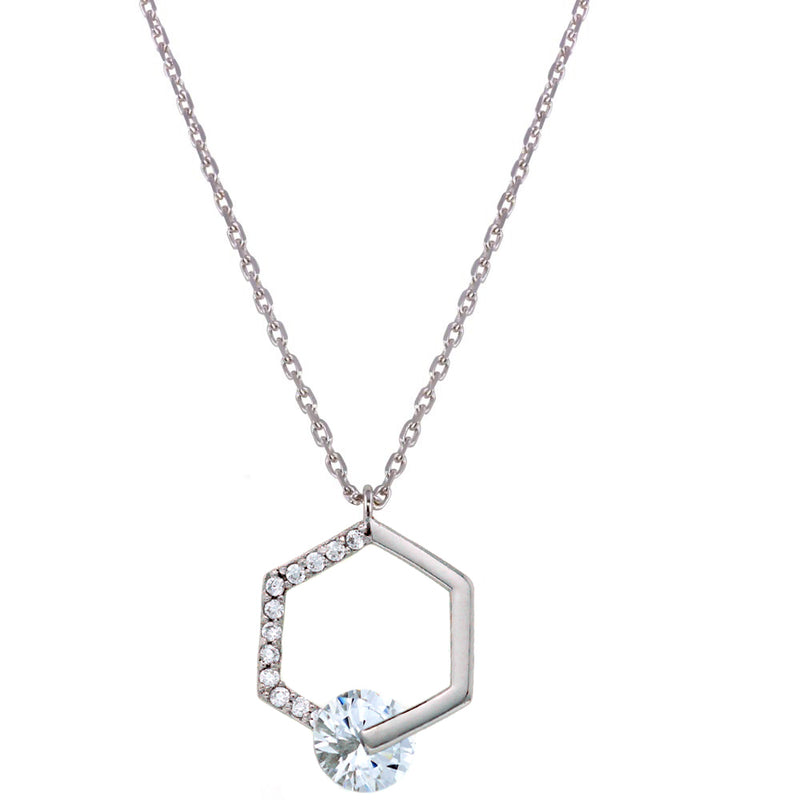 Open Hexagon CZ Necklace