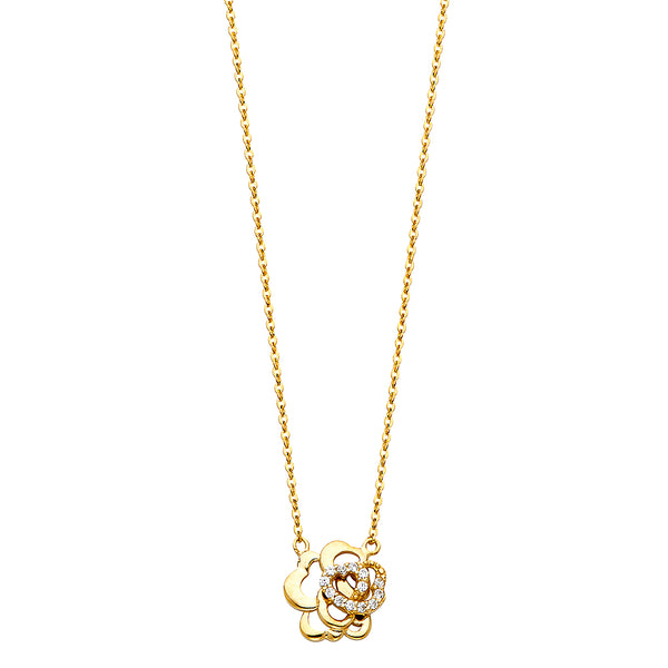 Heart Flower Charm Necklace