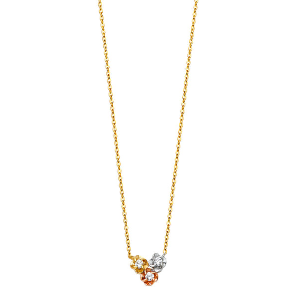 Three Flower Charm Necklace