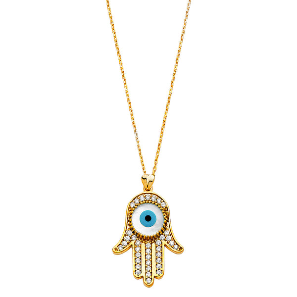 Evil Eye & Hamsa Pendant CZ Necklace