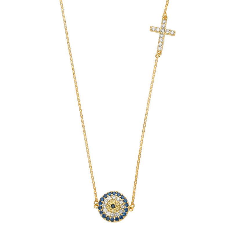 Evil Eye Charm Cross Necklace