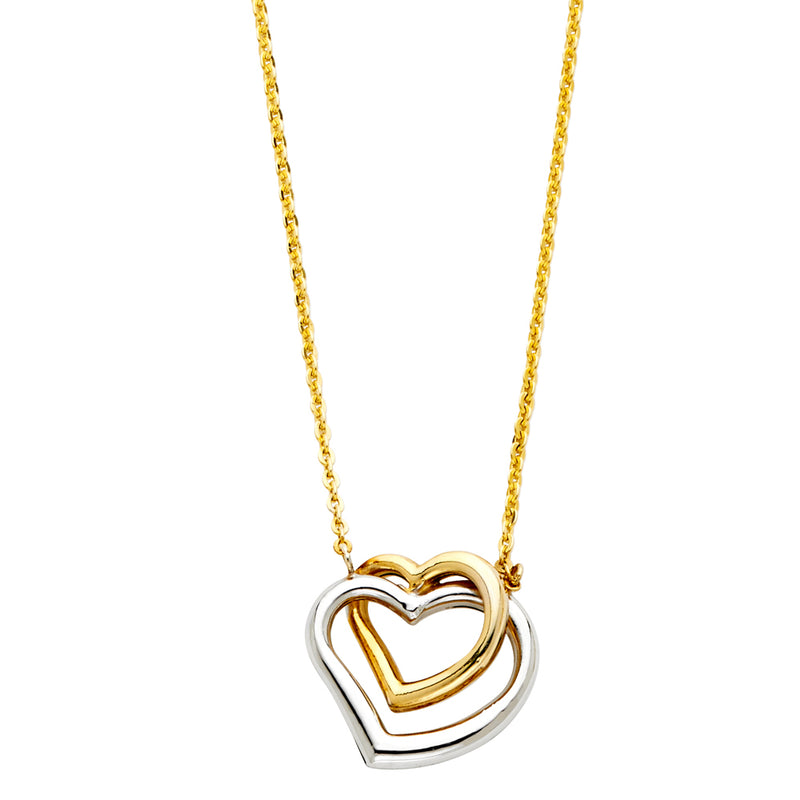 Two Interlocked Heart Charm Necklace