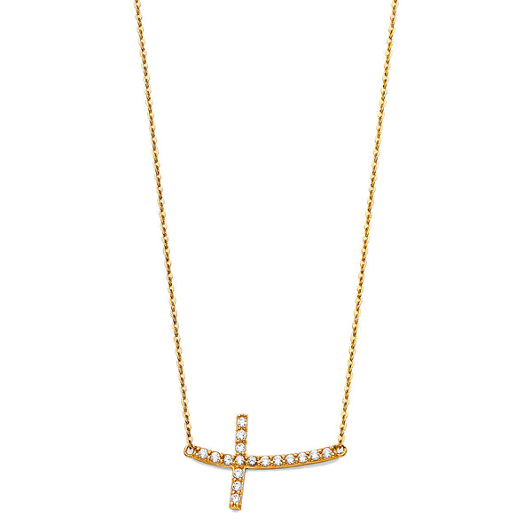 Curved Cross Charm Necklace