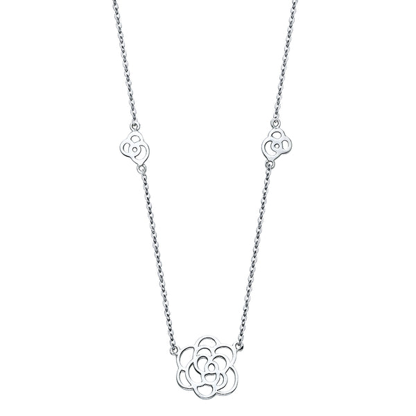 Flower Outline Charm Necklace