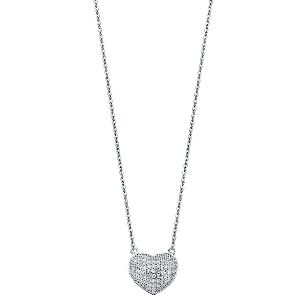 Micro Pavé Heart Charm Necklace