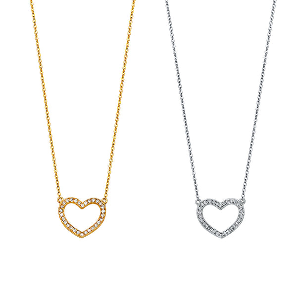 Heart Pendant CZ Necklace