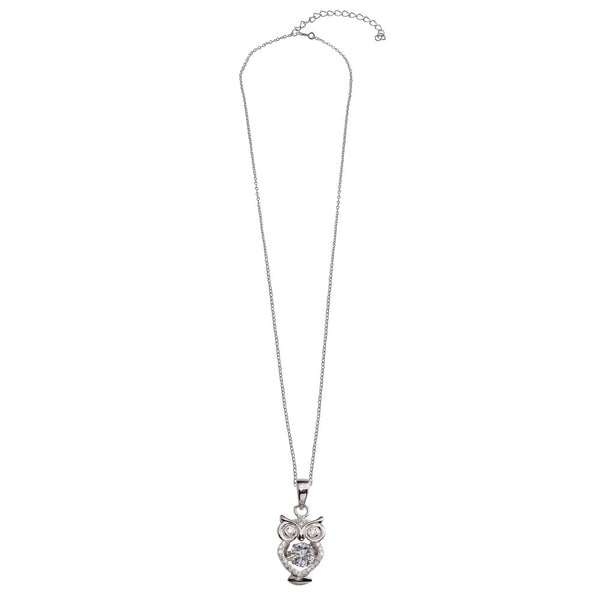 Owl Suspended CZ Necklace