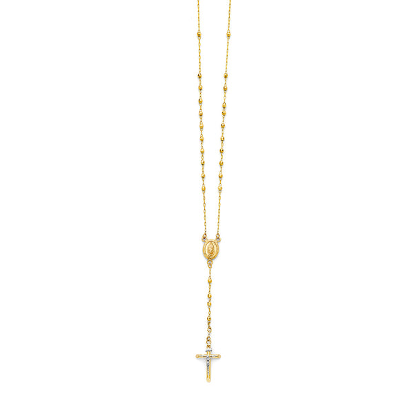3mm Ball Rosary Necklace, 26""