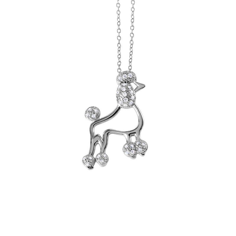 French Poodle CZ Pendant Necklace