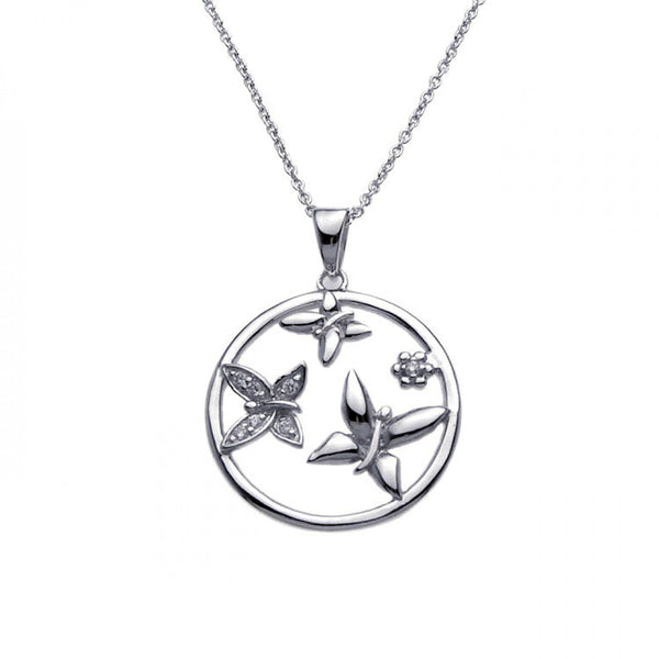 Butterfly Round CZ Pendant Necklace