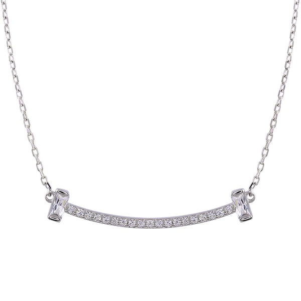 Curved Bar CZ Pendant Necklace