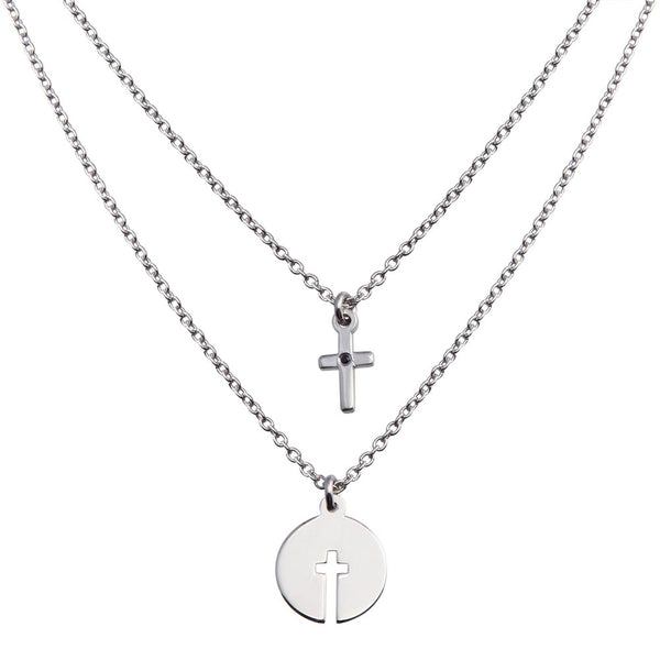 Cross Layered Pendant Necklace