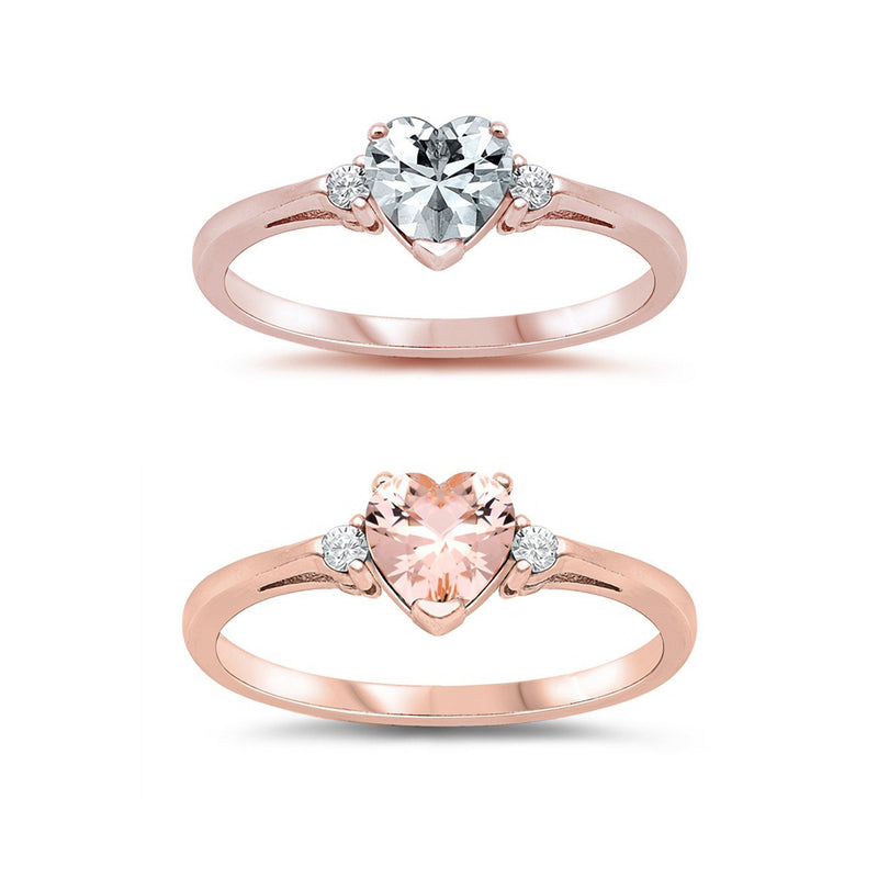 Heart CZ Side Stone Ring