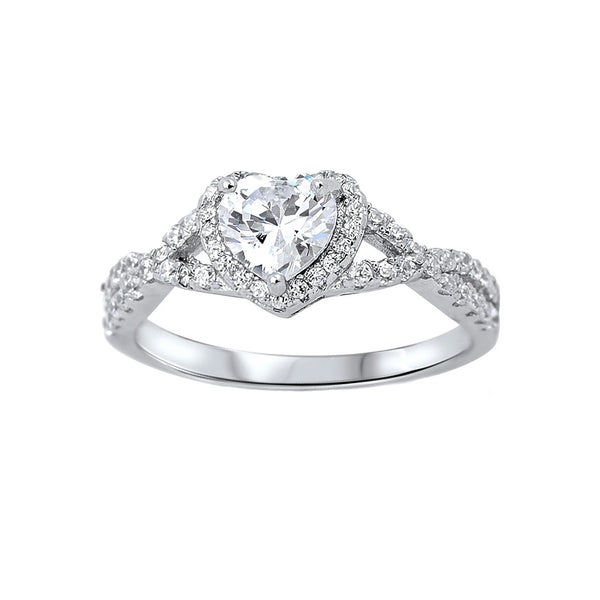 Heart CZ Halo Infinity Rings