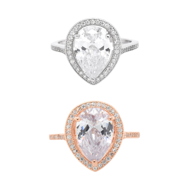 Pear CZ Halo Ring