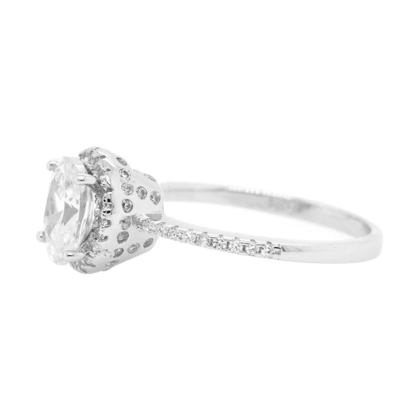 Oval CZ Halo Ring