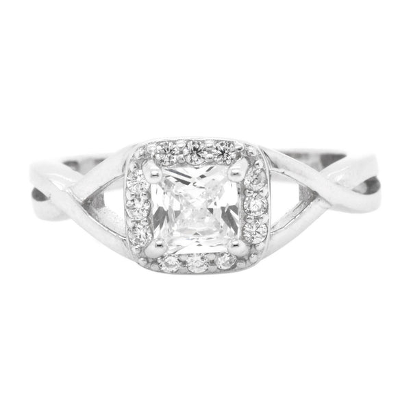 Princess CZ Halo Infinity Ring