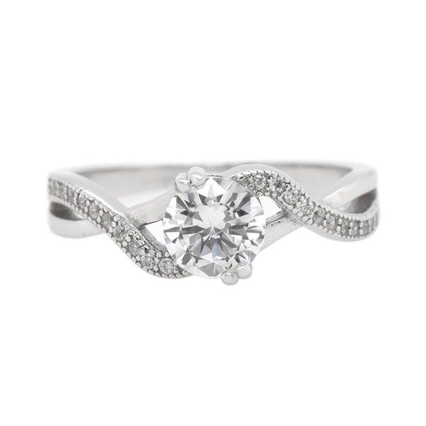 Round CZ Solitaire Infinity Ring
