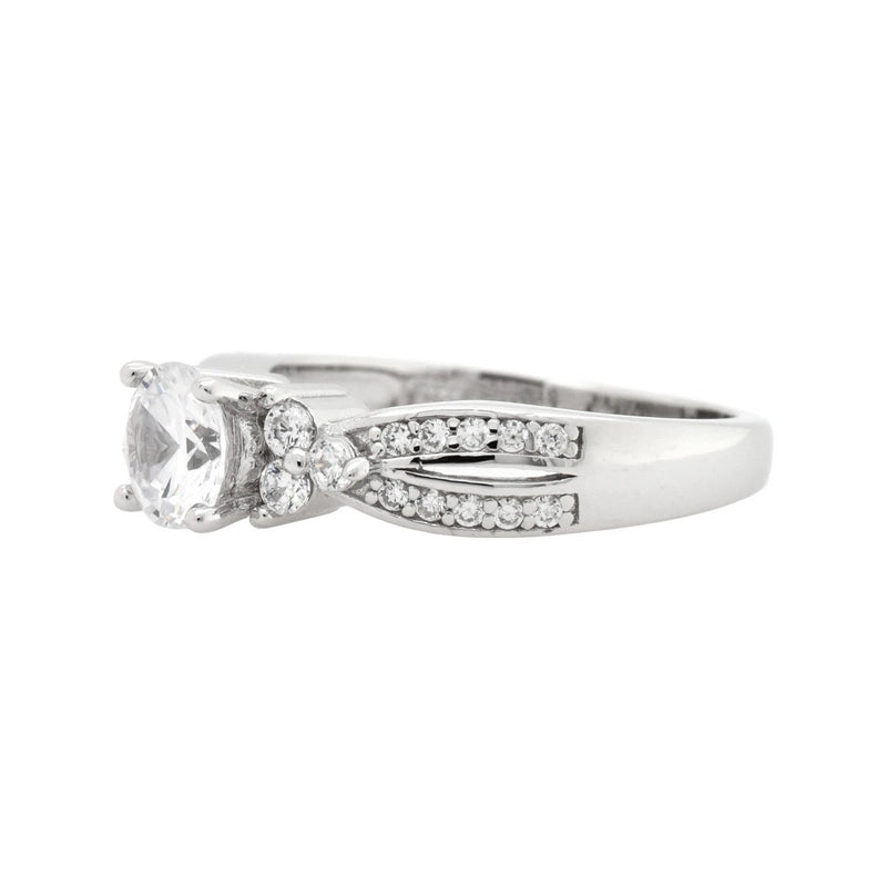 Round CZ Side Stone Infinity Ring