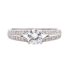 Round CZ Solitaire Split Ring