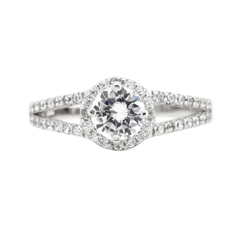 Round CZ Halo Split Ring