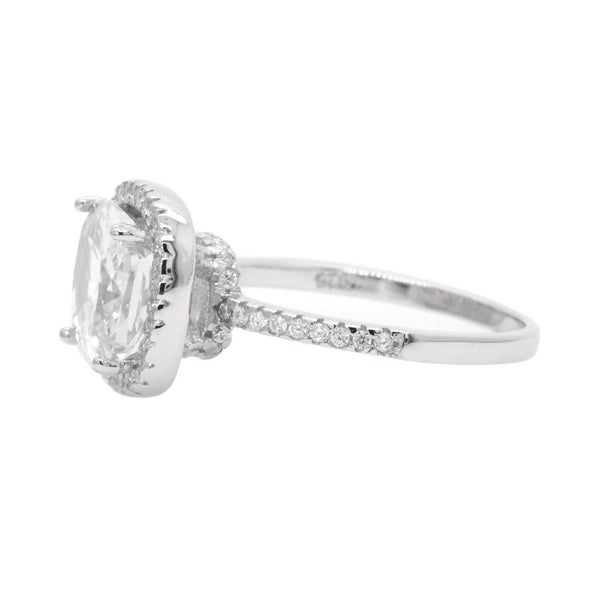 Cushion CZ Halo Ring