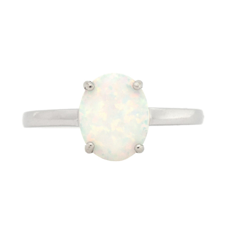 Oval Opal Solitaire Ring