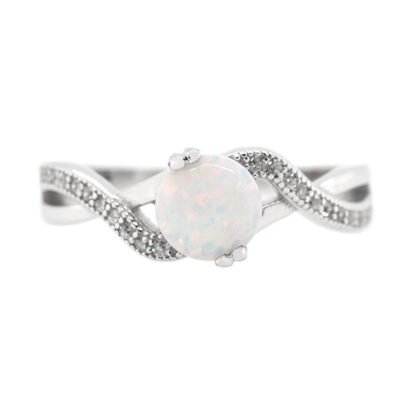 Round Opal Infinity Ring