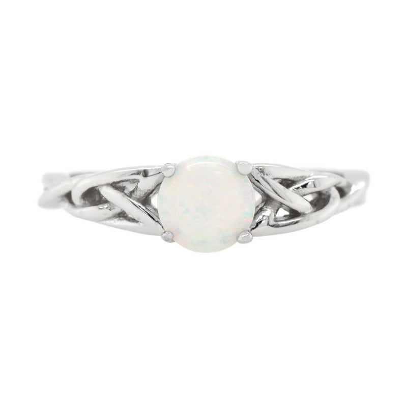 Round Opal Solitaire Celtic Knot Ring