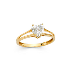 Heart CZ Solitaire Split Ring