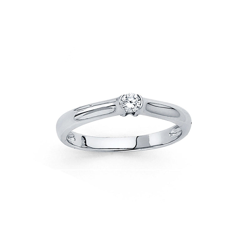 Round CZ Flush Solitaire Ring