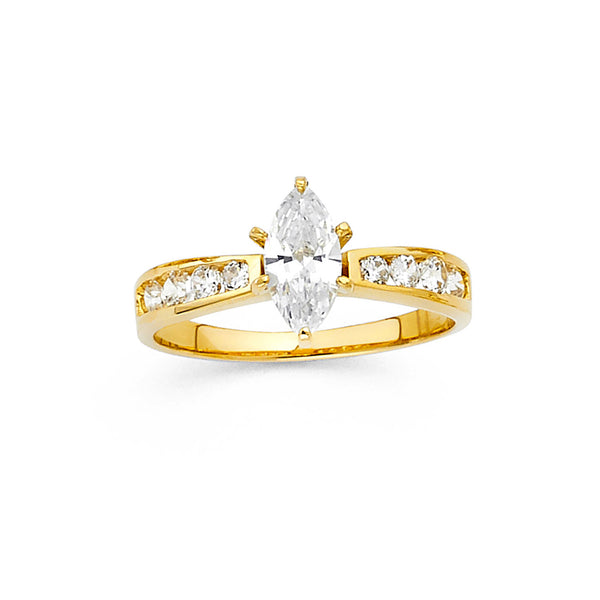 Marquise CZ Solitaire Channel Ring
