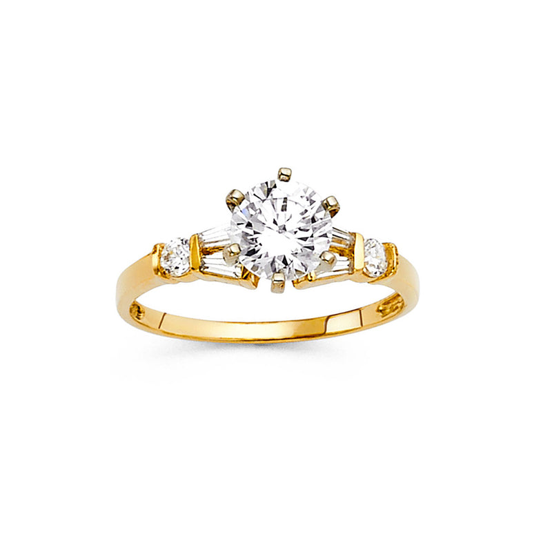 Round CZ Side Stone Ring