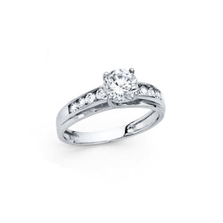 Round CZ Solitaire Channel Ring