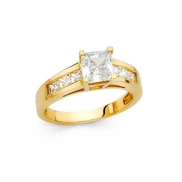Square CZ Solitaire Channel Ring