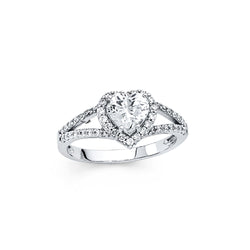 Heart CZ Halo Split Ring