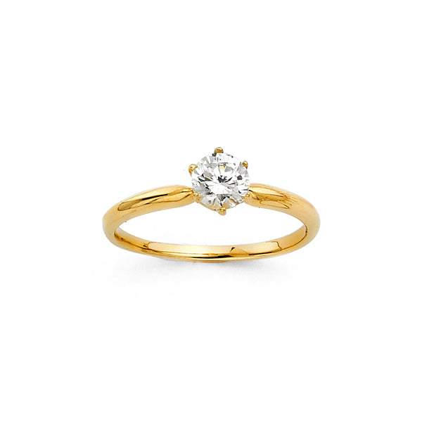 Round CZ Solitaire Pinched Ring