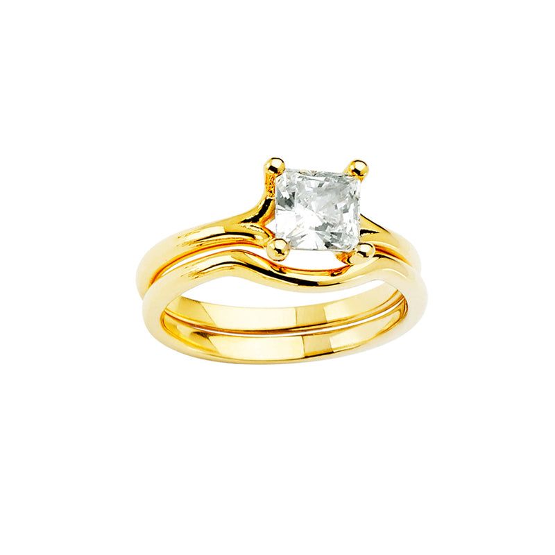 Square CZ Solitaire Wedding Ring Set