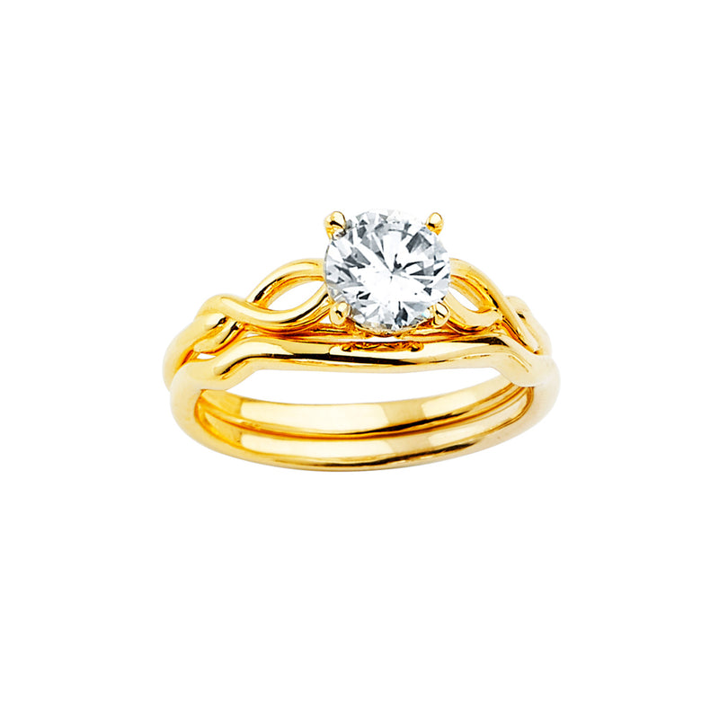 Round CZ Solitaire Infinity Wedding Ring Set
