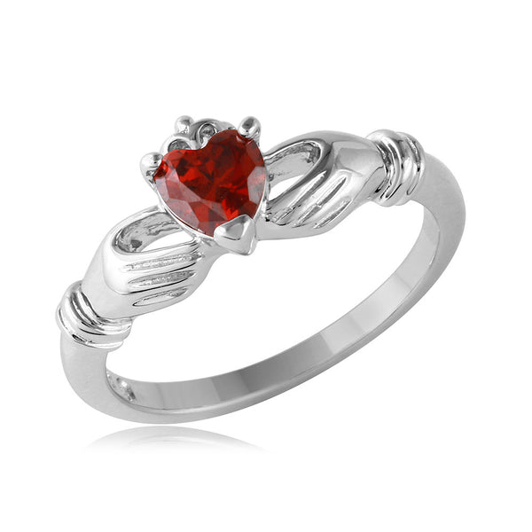 Claddagh Birthstone CZ Ring