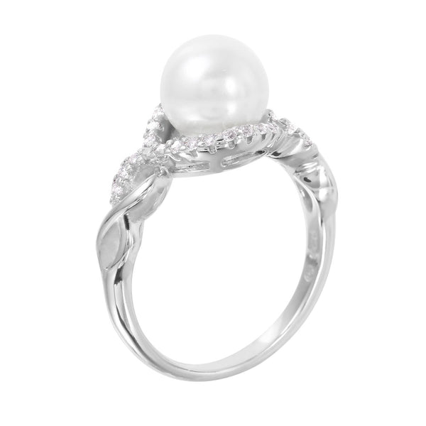 Faux Pearl Halo Infinity Ring