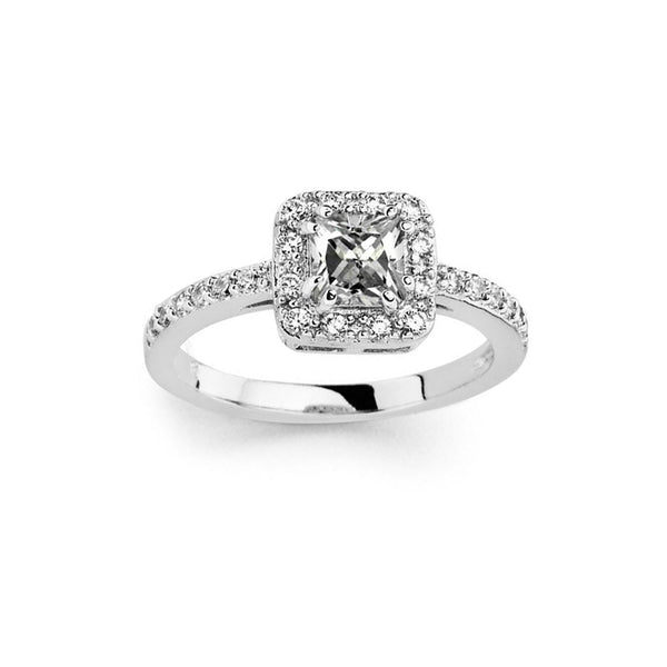 Micro Pave Square CZ Halo Ring
